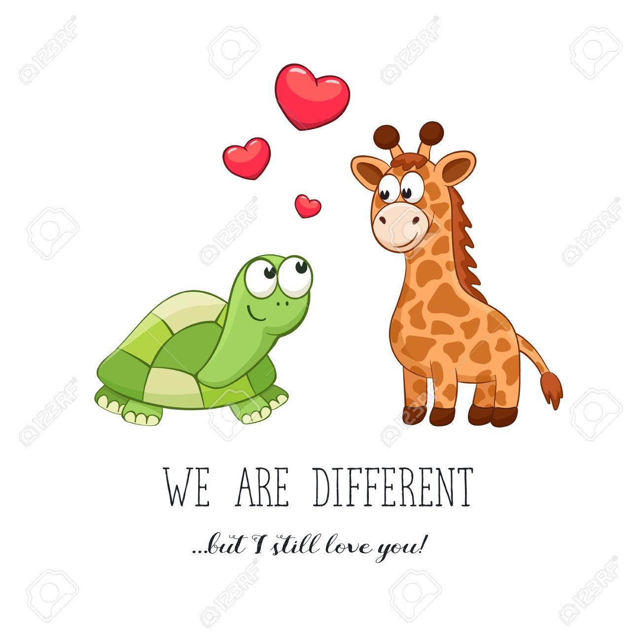 Animales De Dibujos Animados Con El Corazon Da De San Valentin