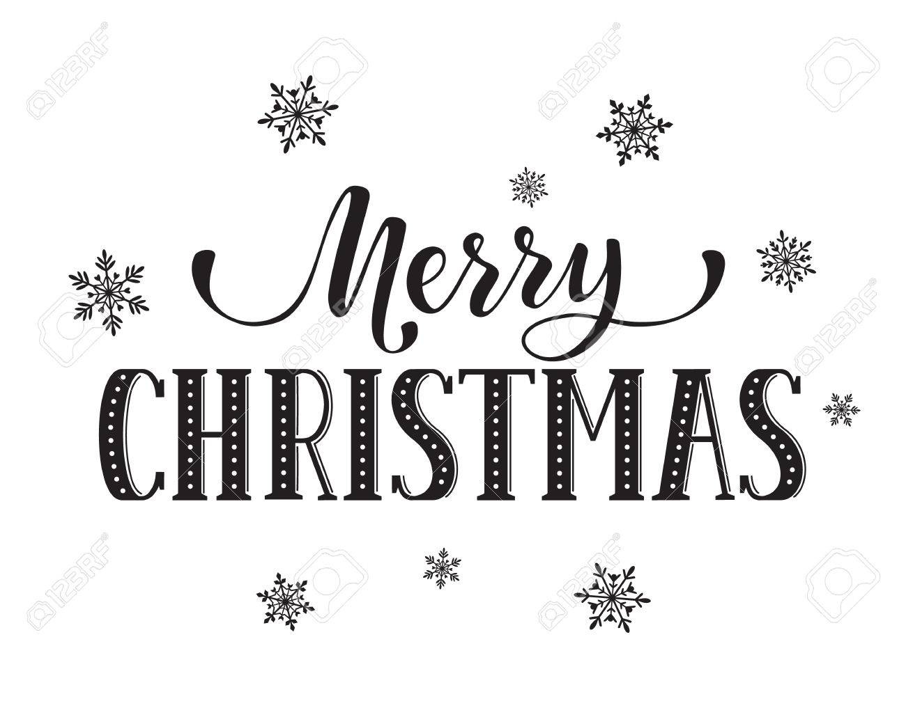 Merry Christmas Postcard Template. Modern Lettering With Snowflakes ...