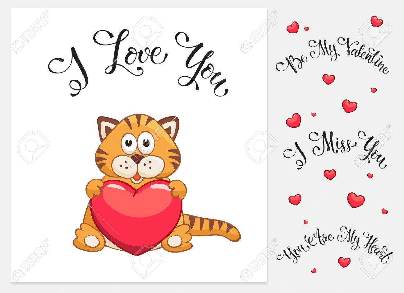 Cartoon Cat With Heart I Love You I Miss You Be My Valentine