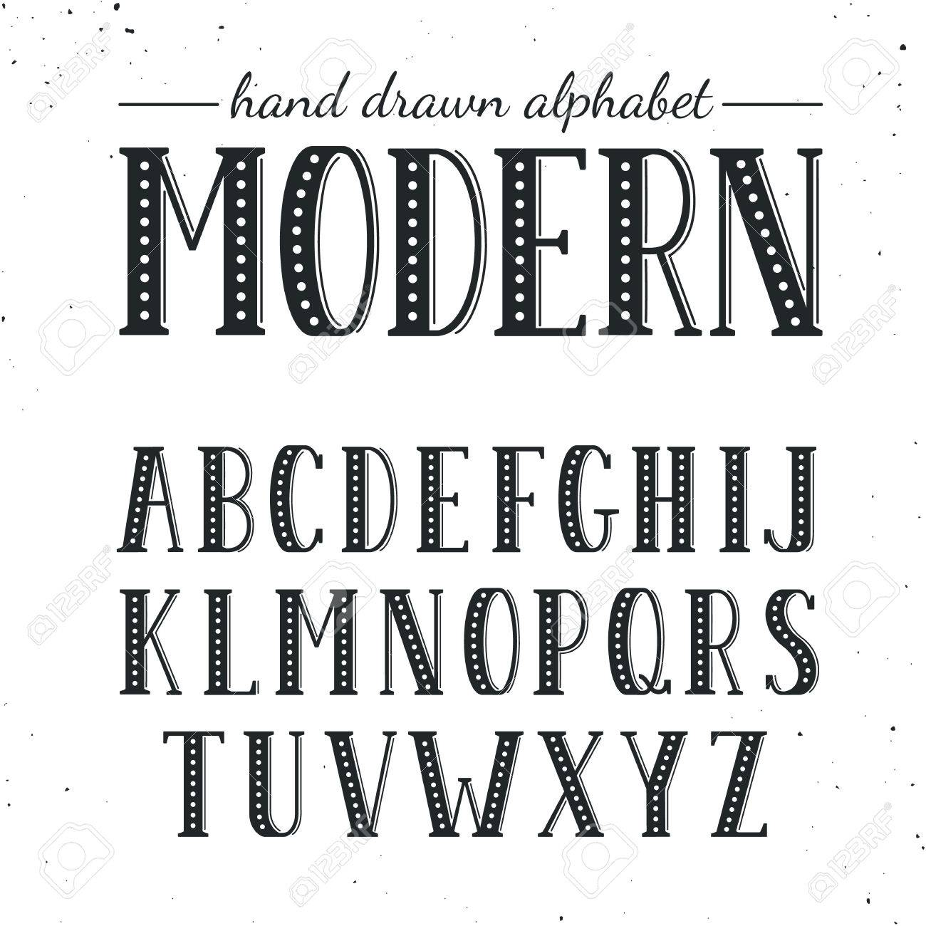 Hand Drawn Alphabet Uppercase Letters And Symbols Isolated On White Background Handdrawn Typography