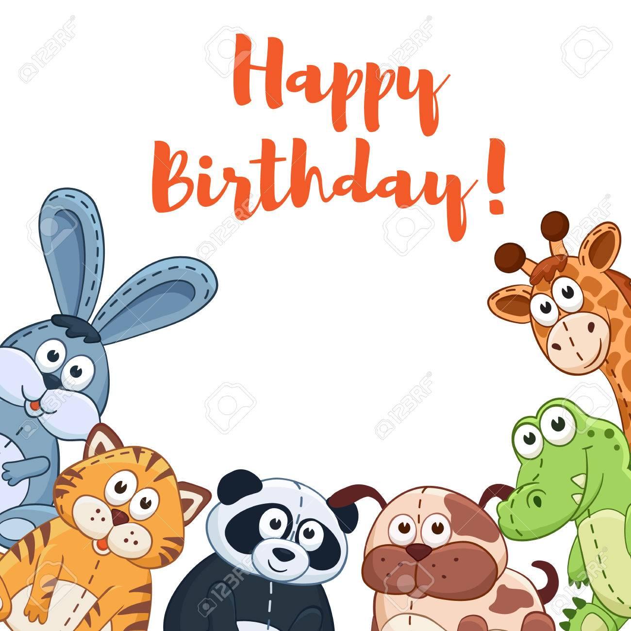 Alles Gute Zum Geburtstag Karte Mit Niedlichen Comic Tiere Auf