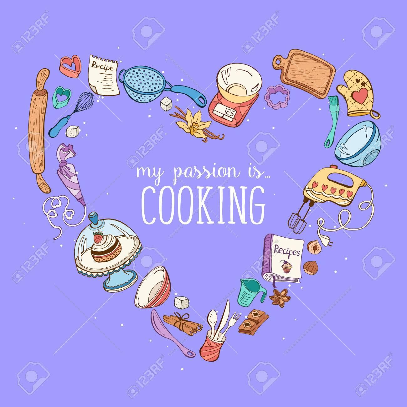 La Mia Passione è La Cucina. Strumenti Di Cottura A Forma Di Cuore ...