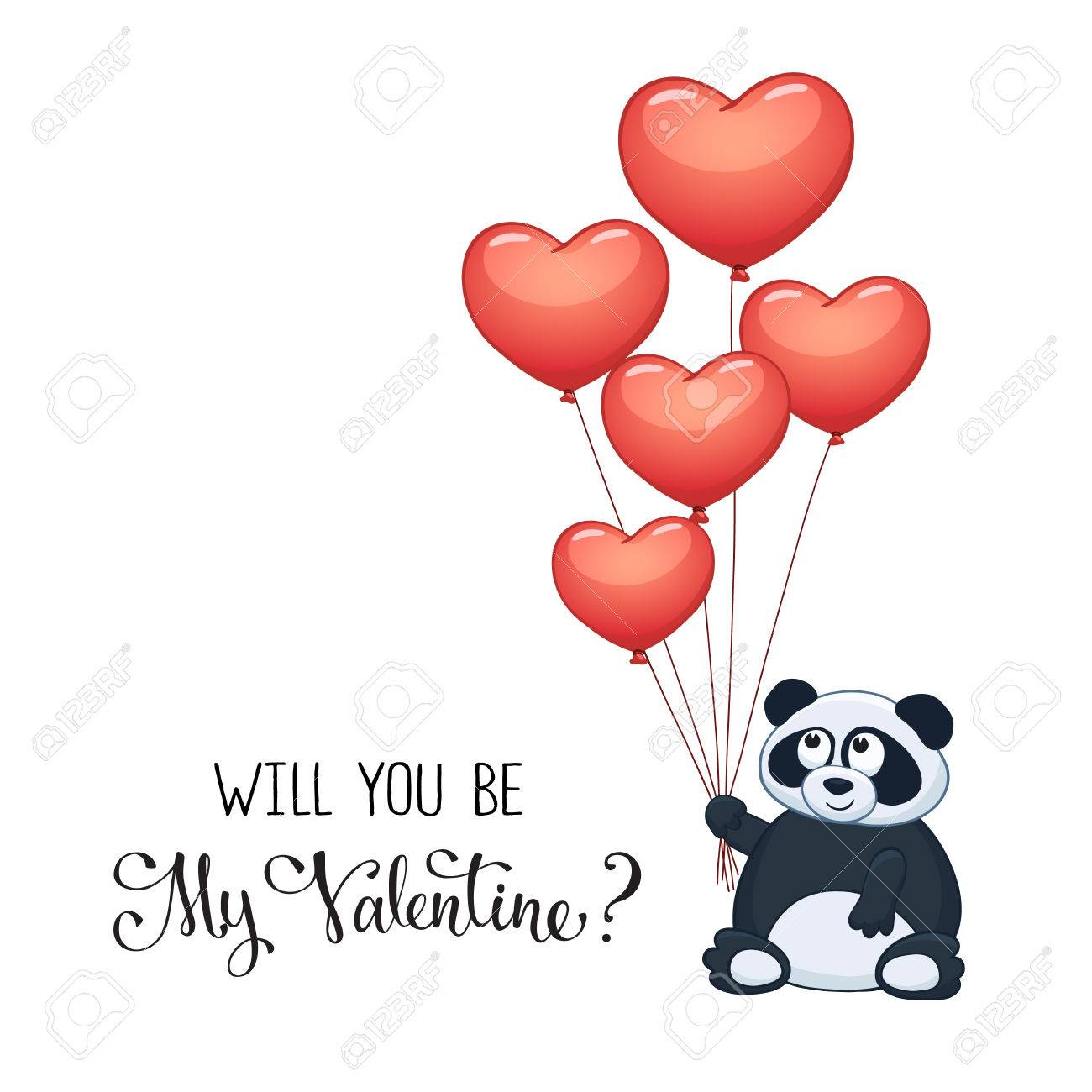 Cartoon Panda With Balloons In Heart Shape Valentines Day Greeting