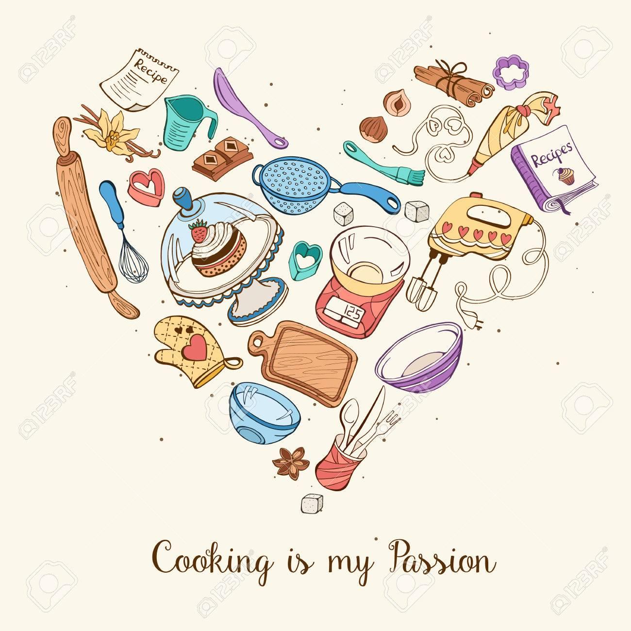 Vettoriale - La Cucina è La Mia Passione. Strumenti Di Cottura A ...
