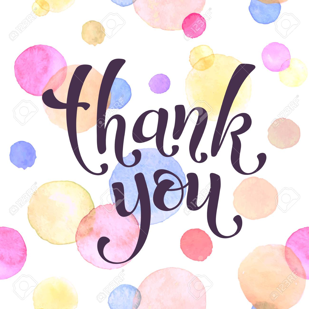 thank you lettering with watercolor spots on background modern