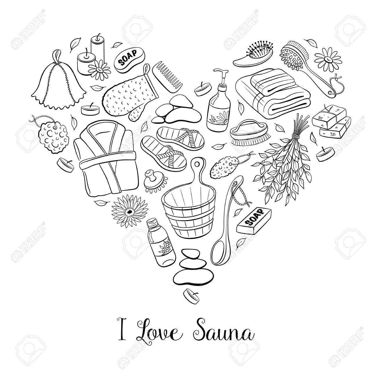 i love sauna. sauna accessories sketches in heart shape. hand