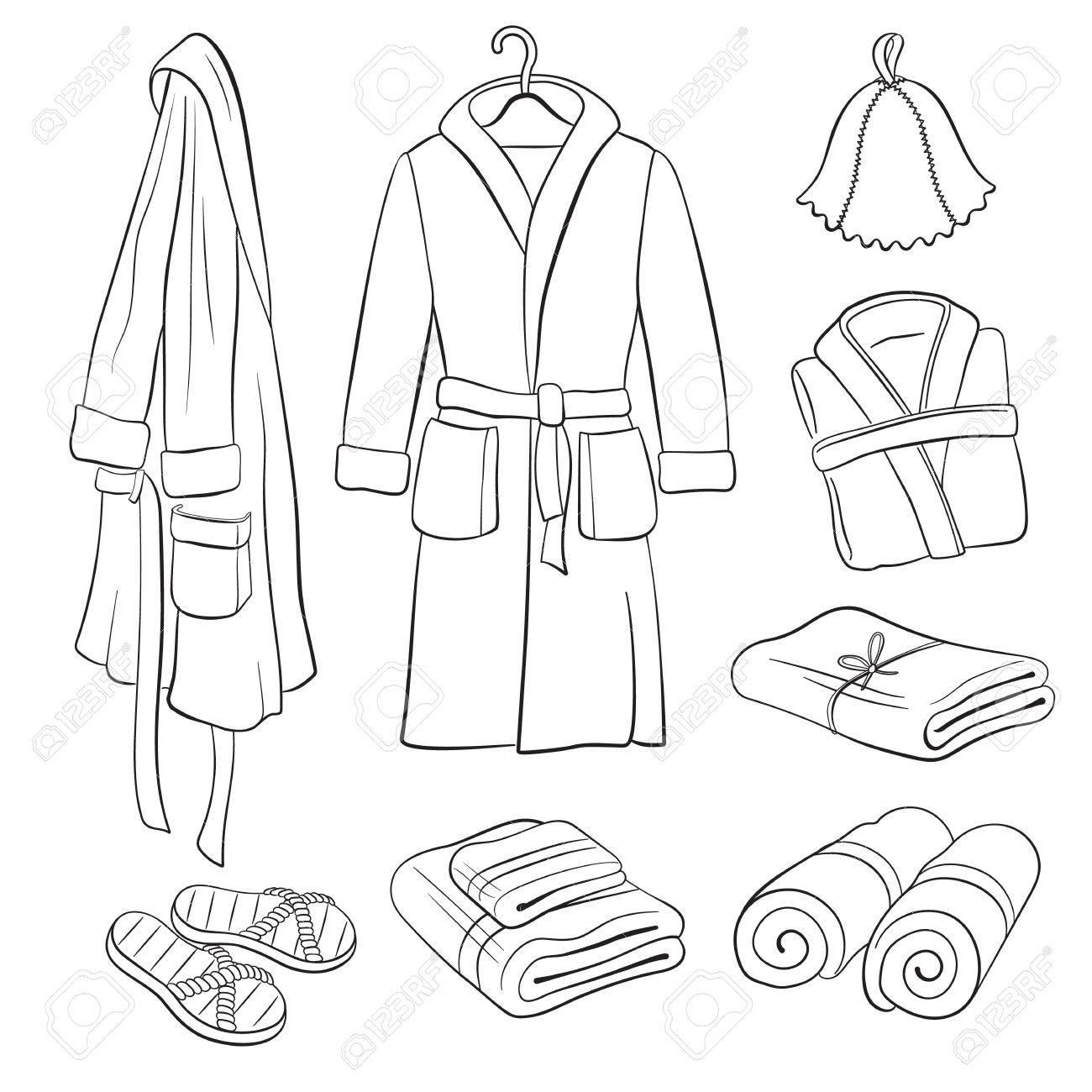 archivio fotografico accessori sauna schizzo disegno a mano accappatoi termali e raccolta asciugamani oggetti da bagno isolato su sfondo bianco