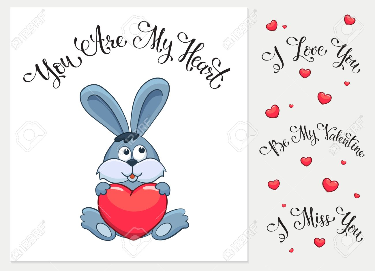 cartoon animals with hearts i love you i miss you be my valentine