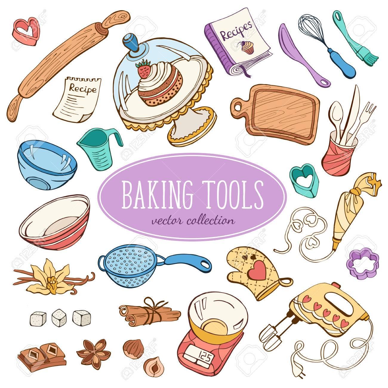 Backwaren Sammlung In Doodle Stil. Hand Gezeichnet Küche Werkzeugsatz In  Pastellfarben. Standard