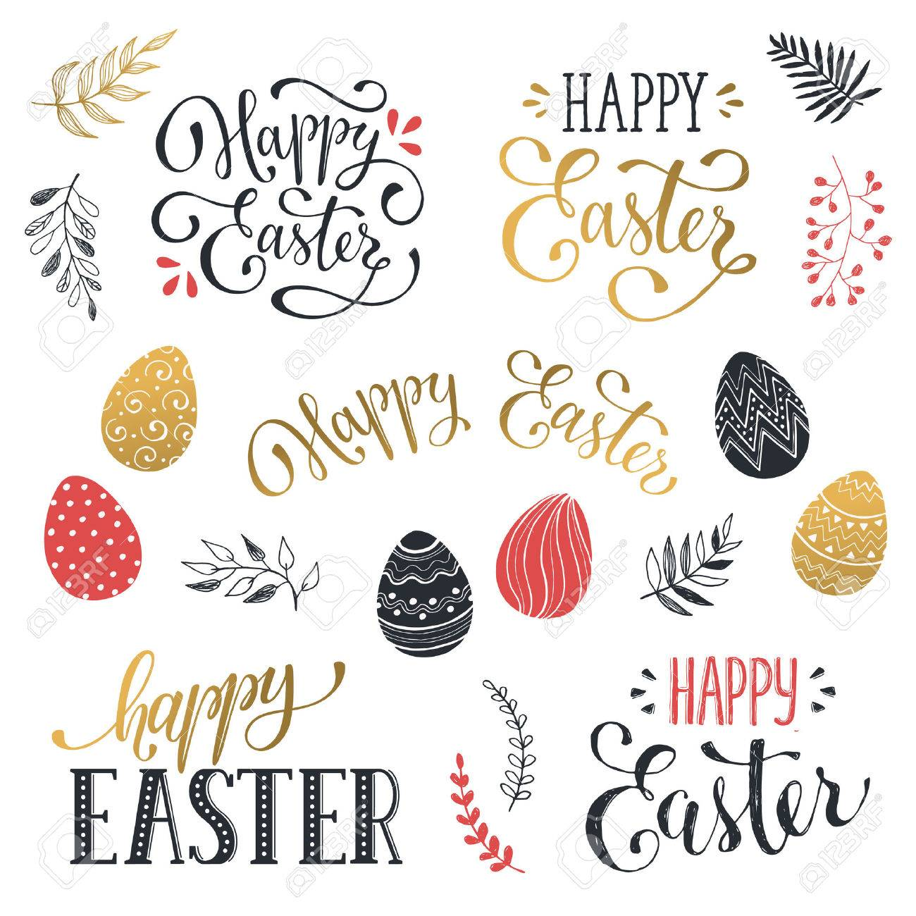 Hand Written Easter Phrases In Red And Gold. Greeting Card Text ...