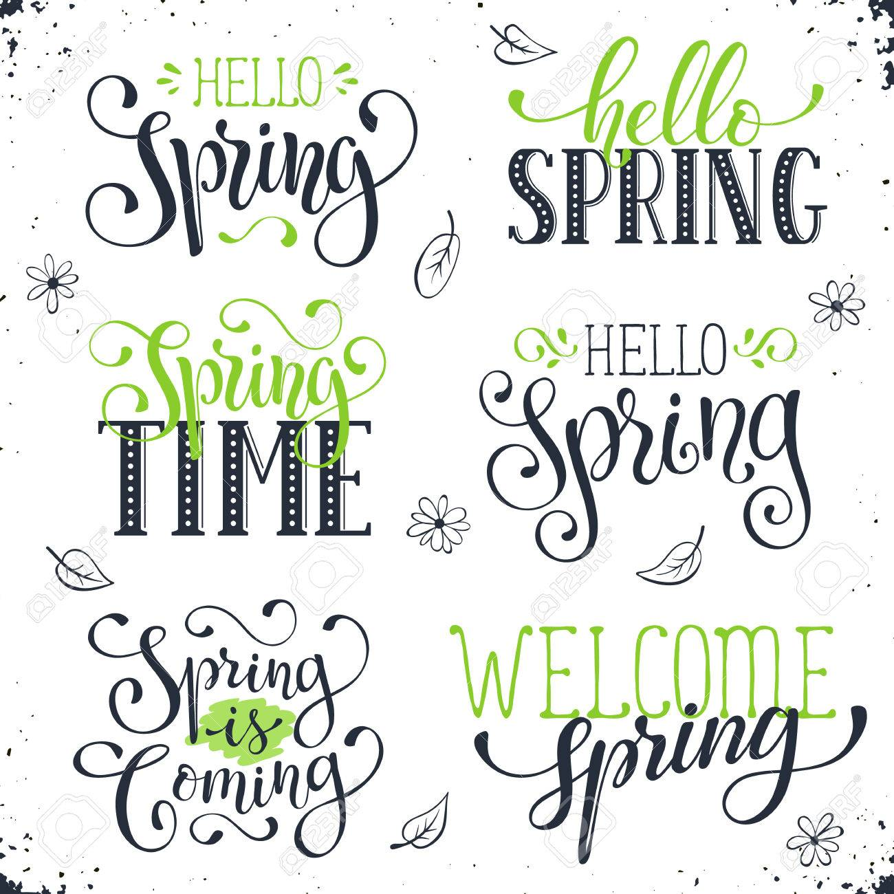 Hand written spring time phrases in black and green greeting hand written spring time phrases in black and green greeting card text templates isolated on m4hsunfo