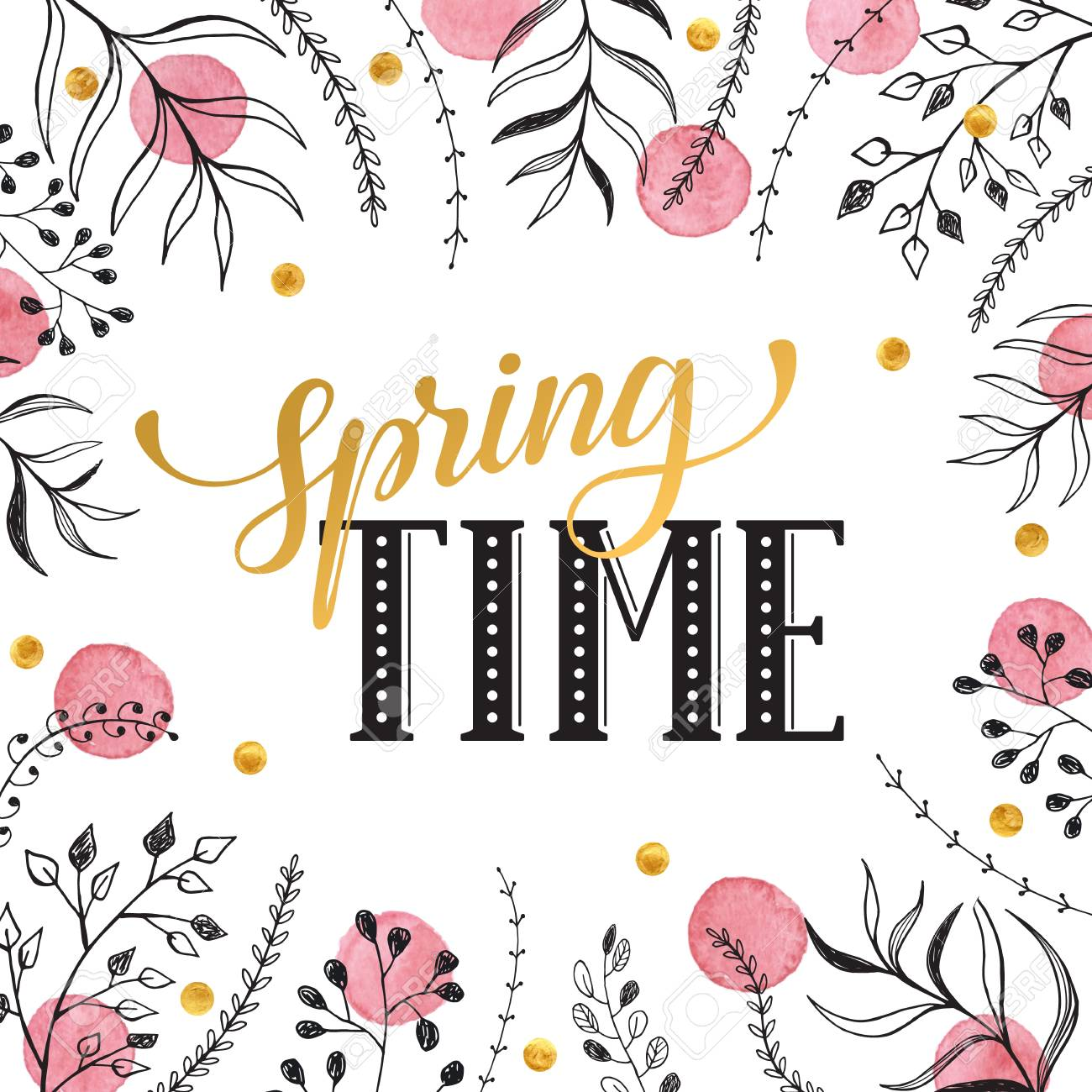 Floral Frame With Spring Time Text Romantic Template For Greeting
