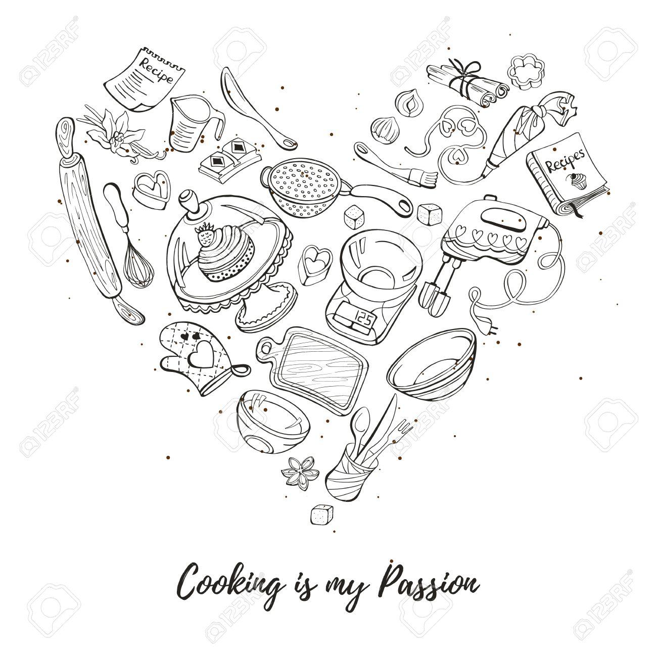 La Cucina è La Mia Passione. Strumenti Di Cottura A Forma Di Cuore ...