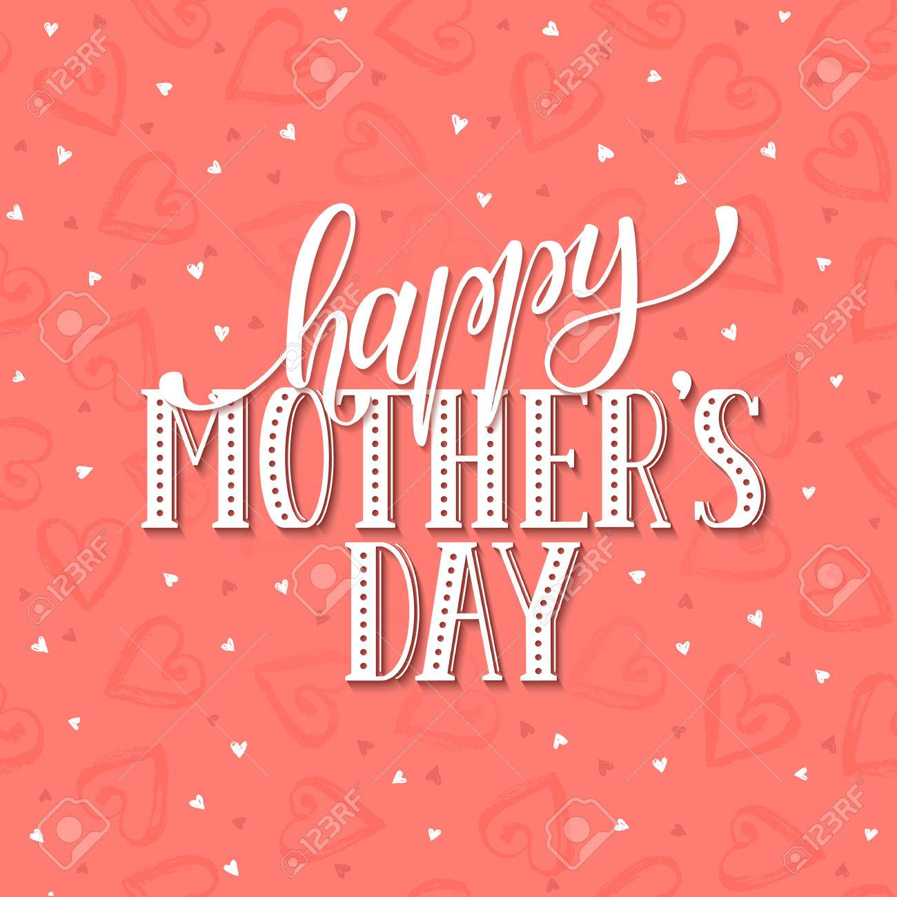 Mothers day greeting card template happy mothers day wording mothers day greeting card template happy mothers day wording with dry brush hearts on background kristyandbryce Choice Image