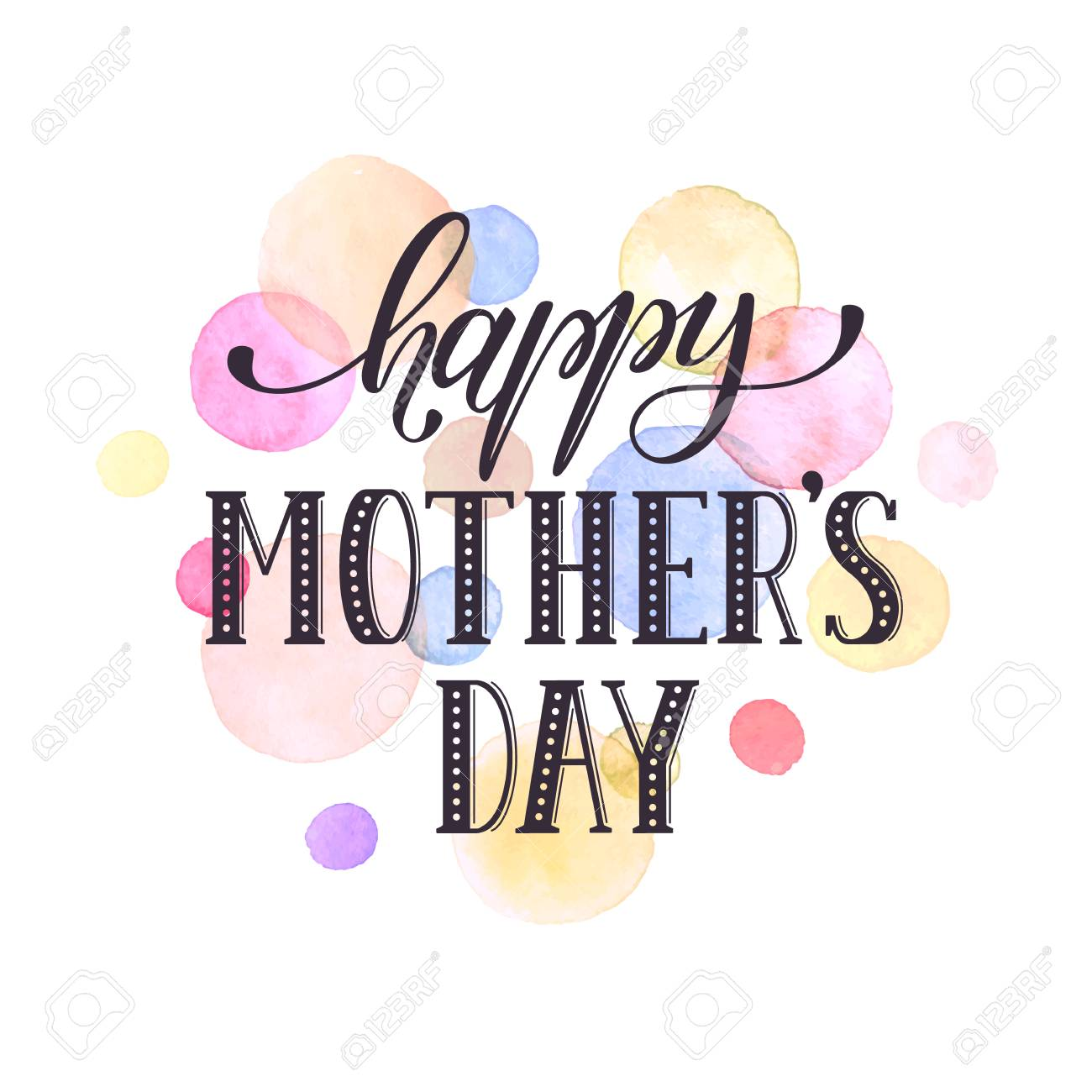 Mothers day greeting card template happy mothers day wording mothers day greeting card template happy mothers day wording with watercolor spots on background kristyandbryce Choice Image