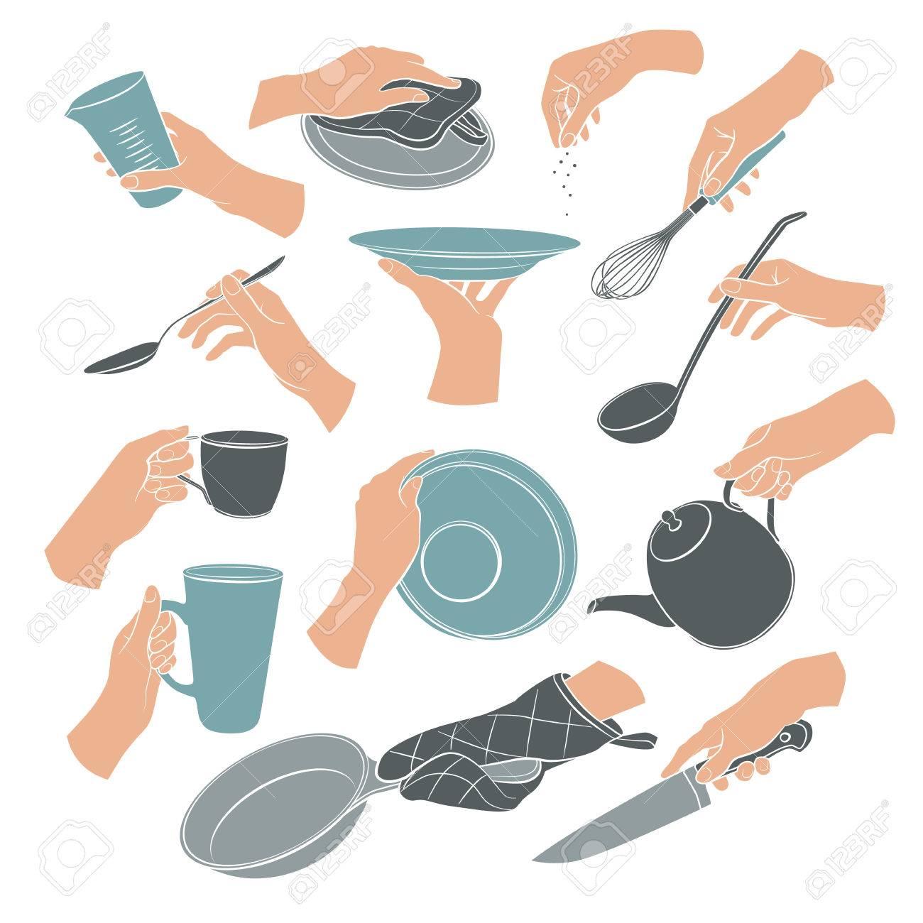Mani Di Cucina In Stile Piatto Isolato Su Sfondo Bianco. La Donna ...