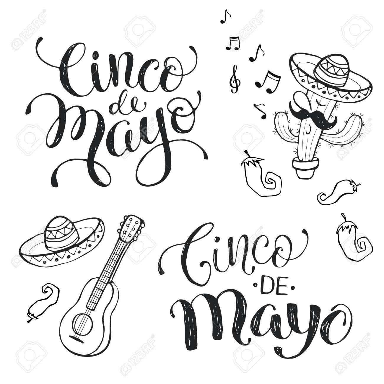 Frases Escritas A Mano Para La Celebración Mexicana Del Cinco De Mayo Cinco De Mayo Texto Aislado En El Fondo Blanco Atributos Nacional Mexicana