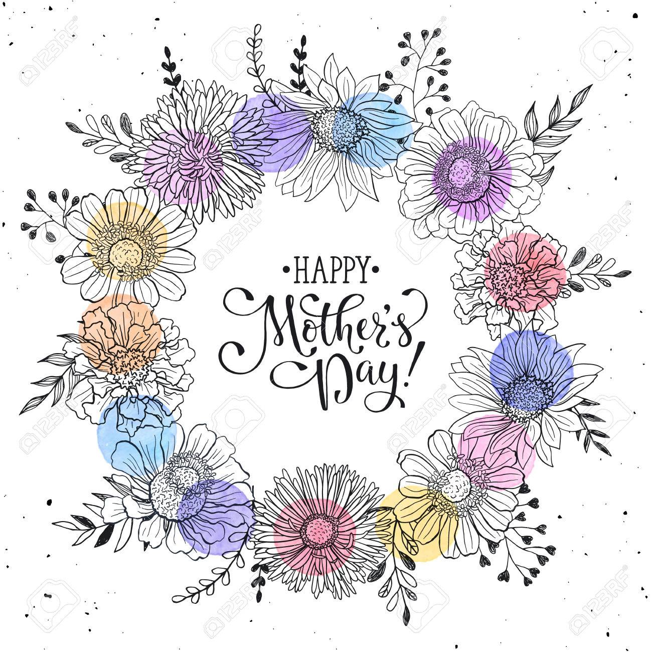 Mothers day greeting card template happy mothers day wording mothers day greeting card template happy mothers day wording with flowers hand drawn black on m4hsunfo