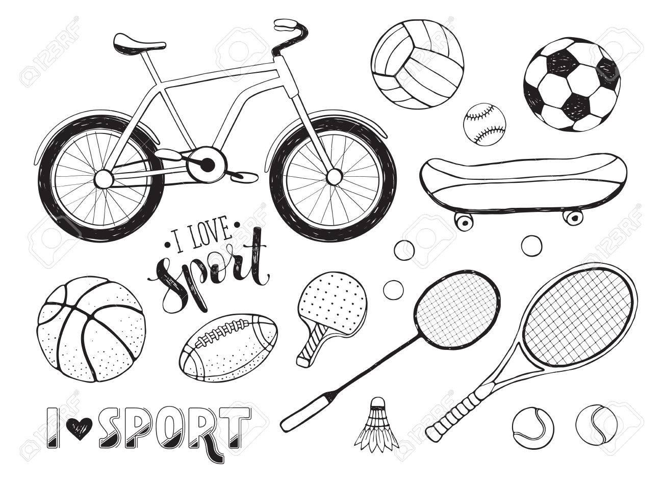 Recogida De Material De Deporte Del Vector Ilustración De Artículos Deportivos Doodle Por Un Libro Para Colorear Dibujado A Mano Balones De Deporte