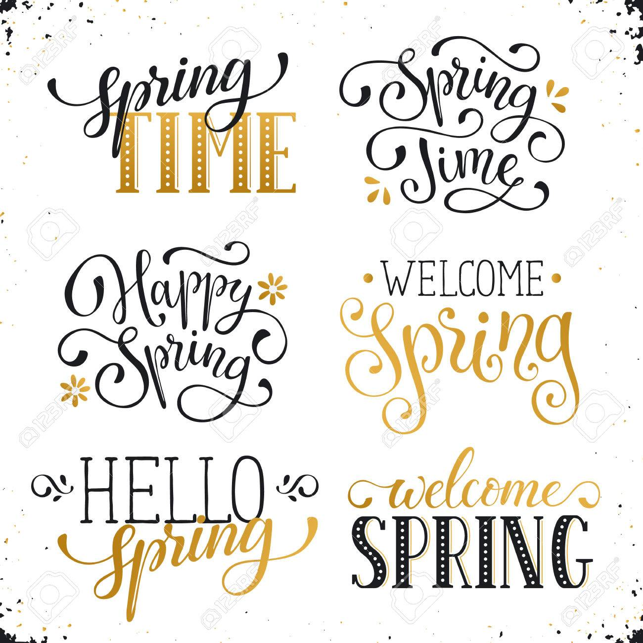 Hand written spring time phrases in white and gold greeting hand written spring time phrases in white and gold greeting card text templates isolated on m4hsunfo