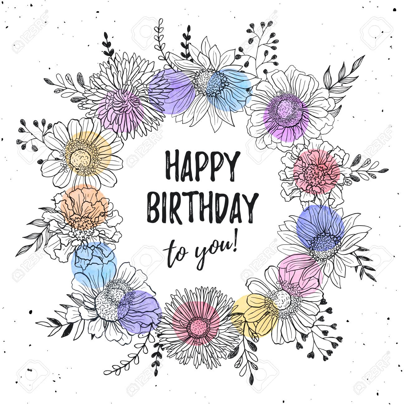 Birthday Greeting Card With Flowers Hand Drawn Black On White