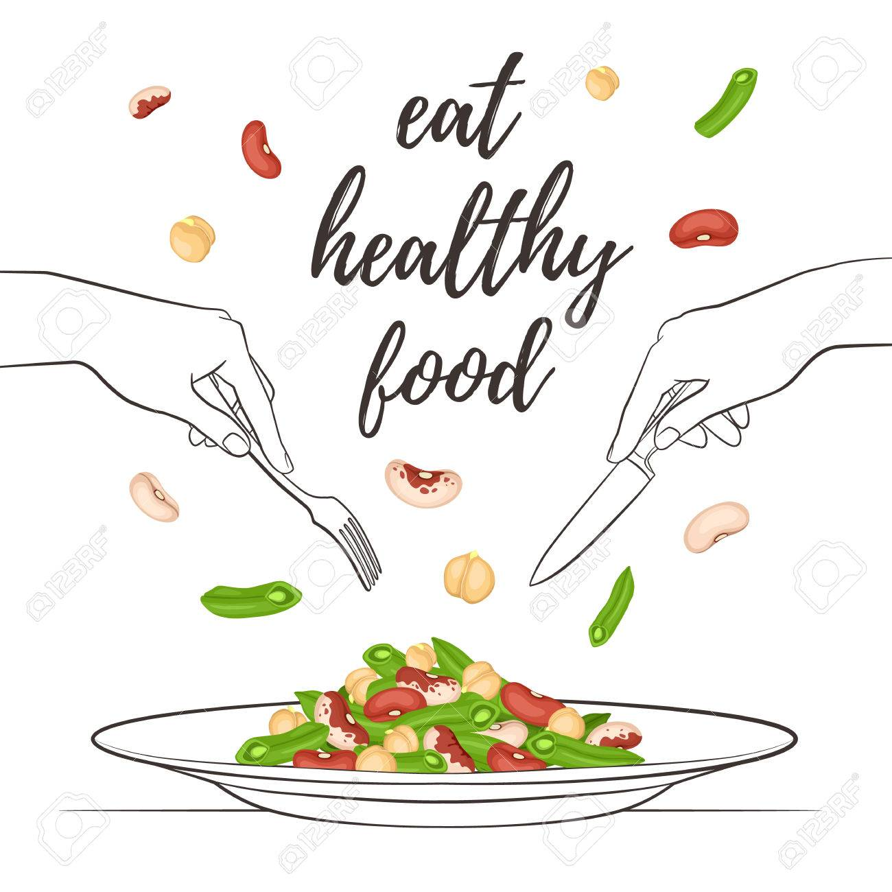 Eat Healthy Food Concept Fresh Salad From Beans And Chickpea Royalty Free Cliparts Vectors And Stock Illustration Image 58015548
