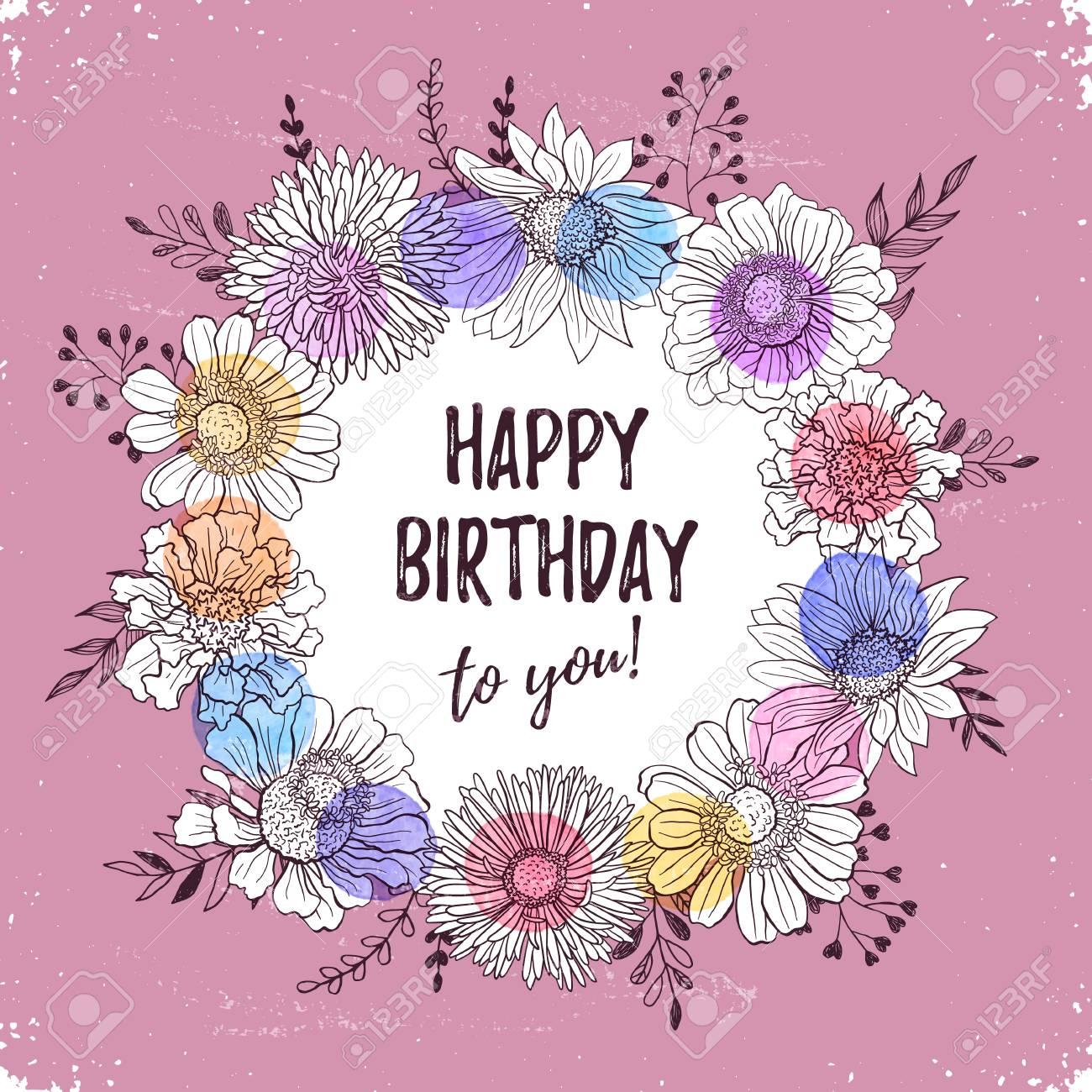 Alles Gute Zum Geburtstag Retro Plakat Grusskarte Mit Blumen Hand Im