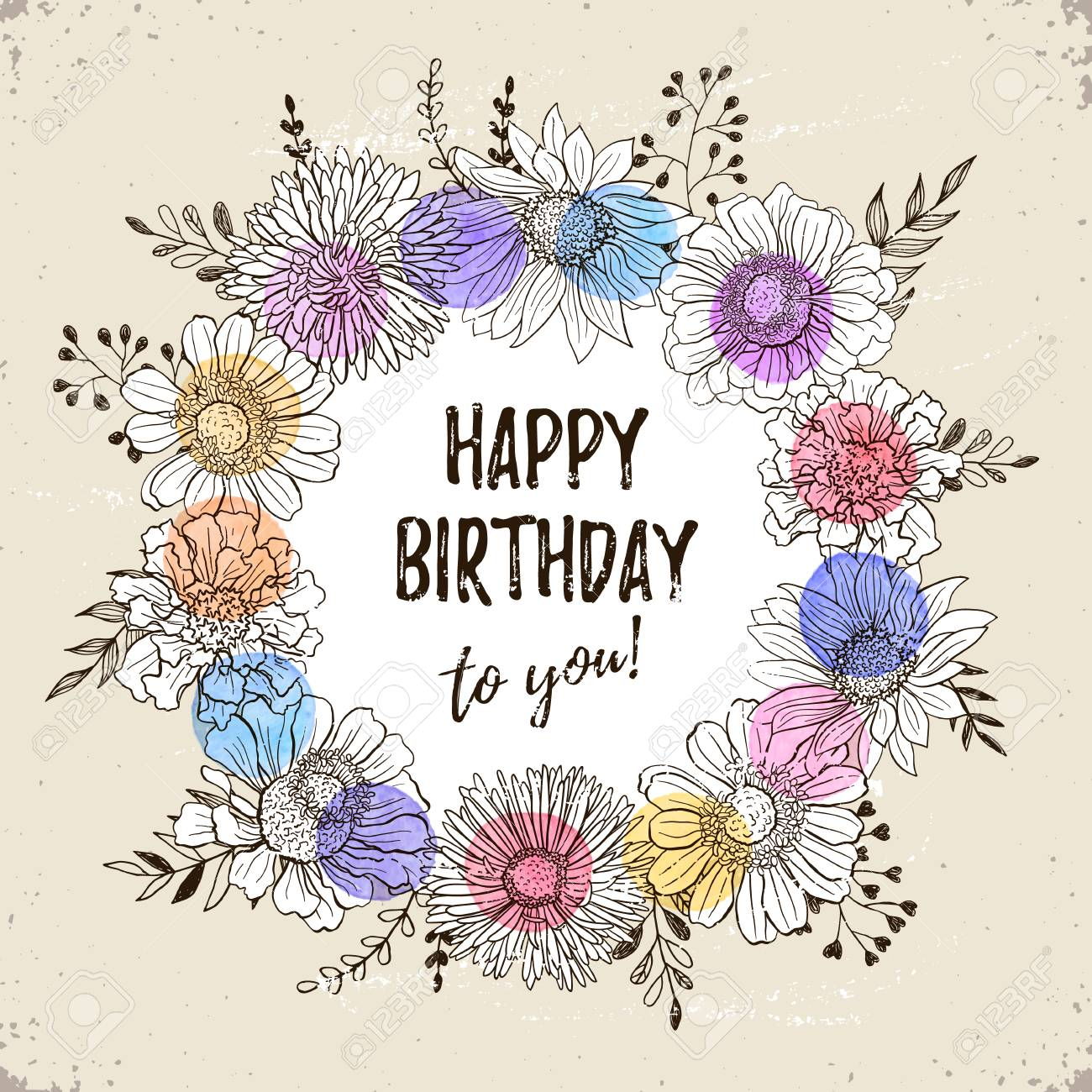 Happy Birthday Retro Poster Greeting Card With Flowers Hand Drawn In Vintage Style Decorative