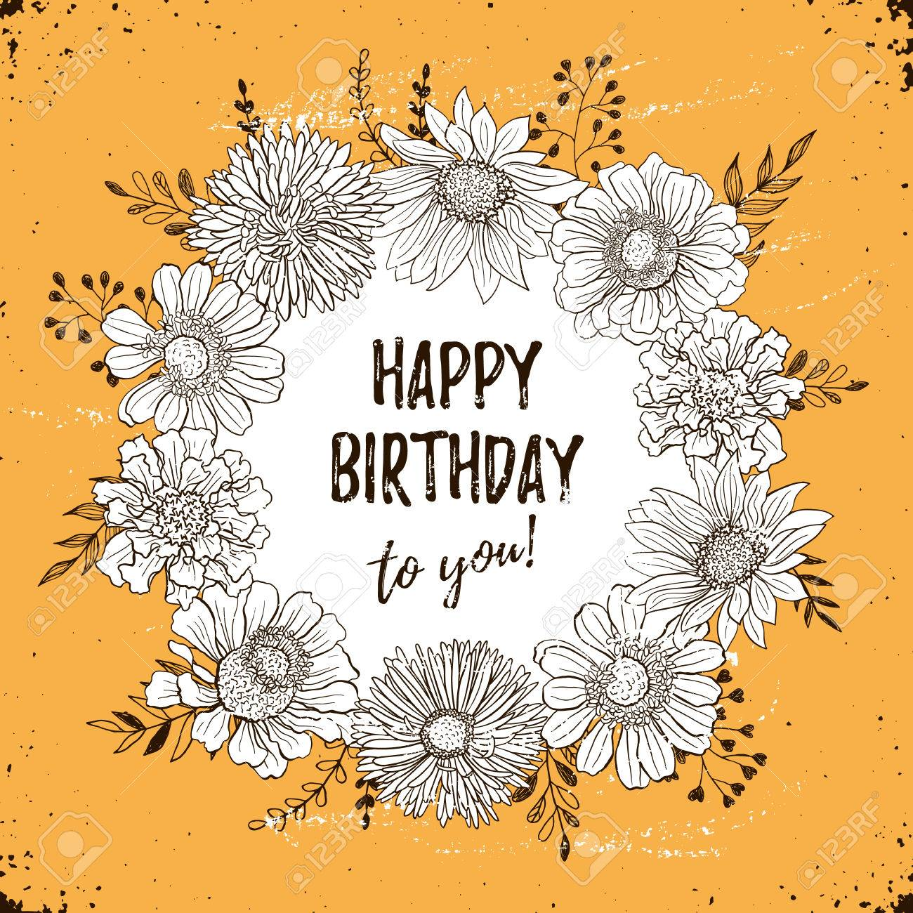 Happy birthday retro poster greeting card with flowers hand happy birthday retro poster greeting card with flowers hand drawn in vintage style decorative bookmarktalkfo Image collections