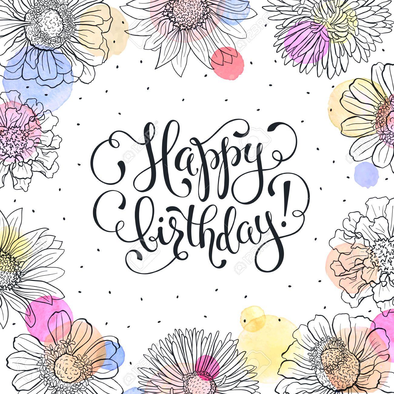 Happy birthday greeting card sketch flowers frame with watercolor happy birthday greeting card sketch flowers frame with watercolor spots on white background birthday kristyandbryce Gallery