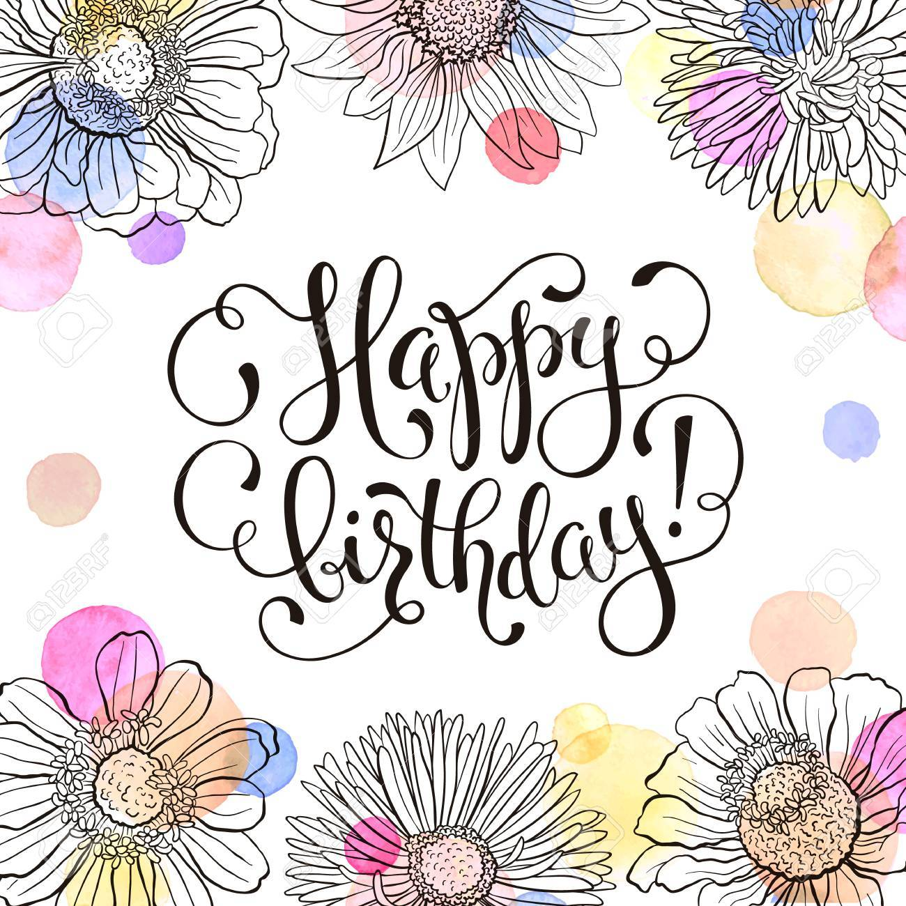 Happy Birthday Greeting Card Hand Drawn Flowers Frame With Watercolor On White Background
