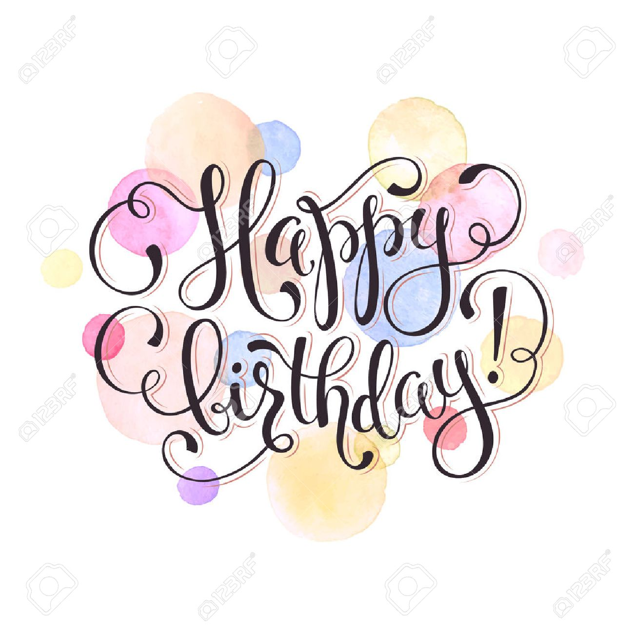 Happy birthday greeting card watercolor spots in pastel color happy birthday greeting card watercolor spots in pastel color isolated on white background with text kristyandbryce Gallery