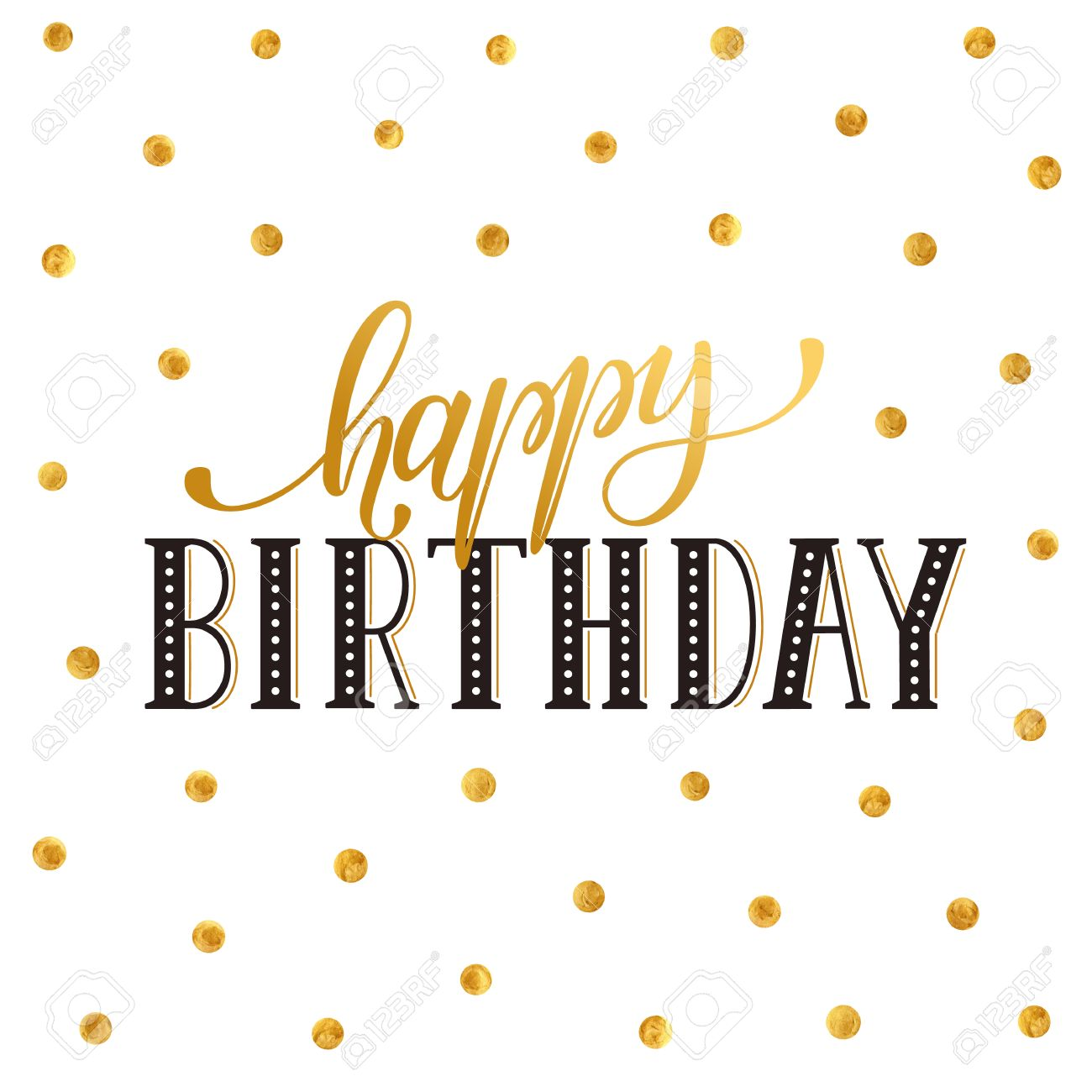 Happy birthday greeting card lettering with golden polka dot happy birthday greeting card lettering with golden polka dot pattern on white background birthday wording m4hsunfo