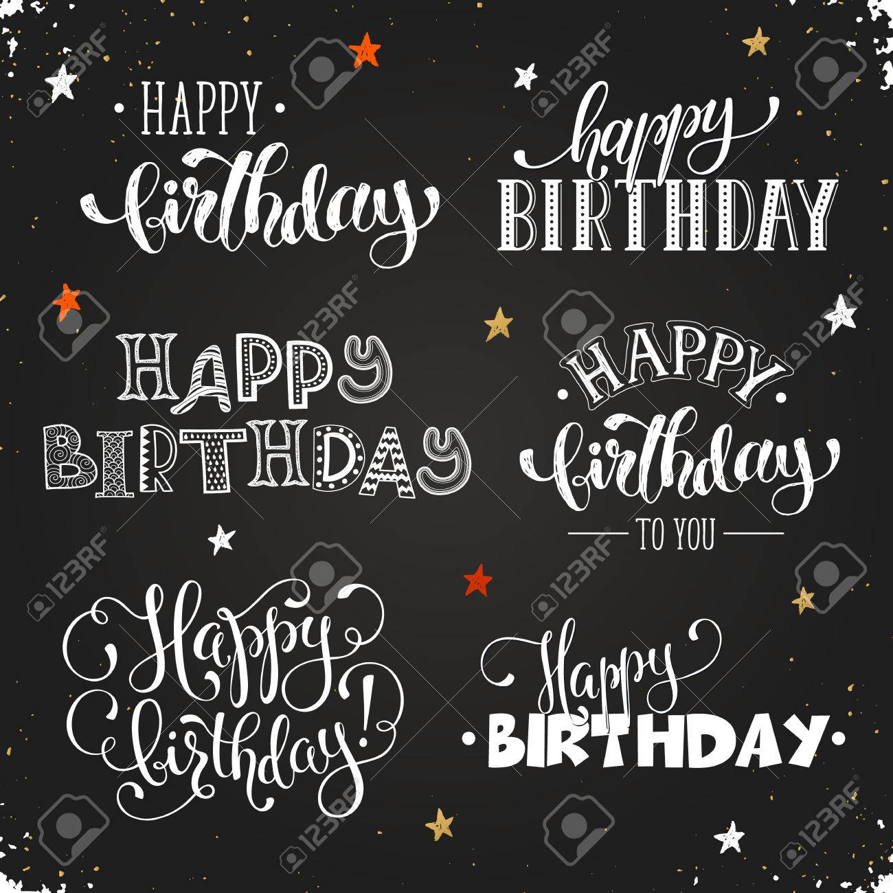 hand written happy birthday phrases greeting card text templates