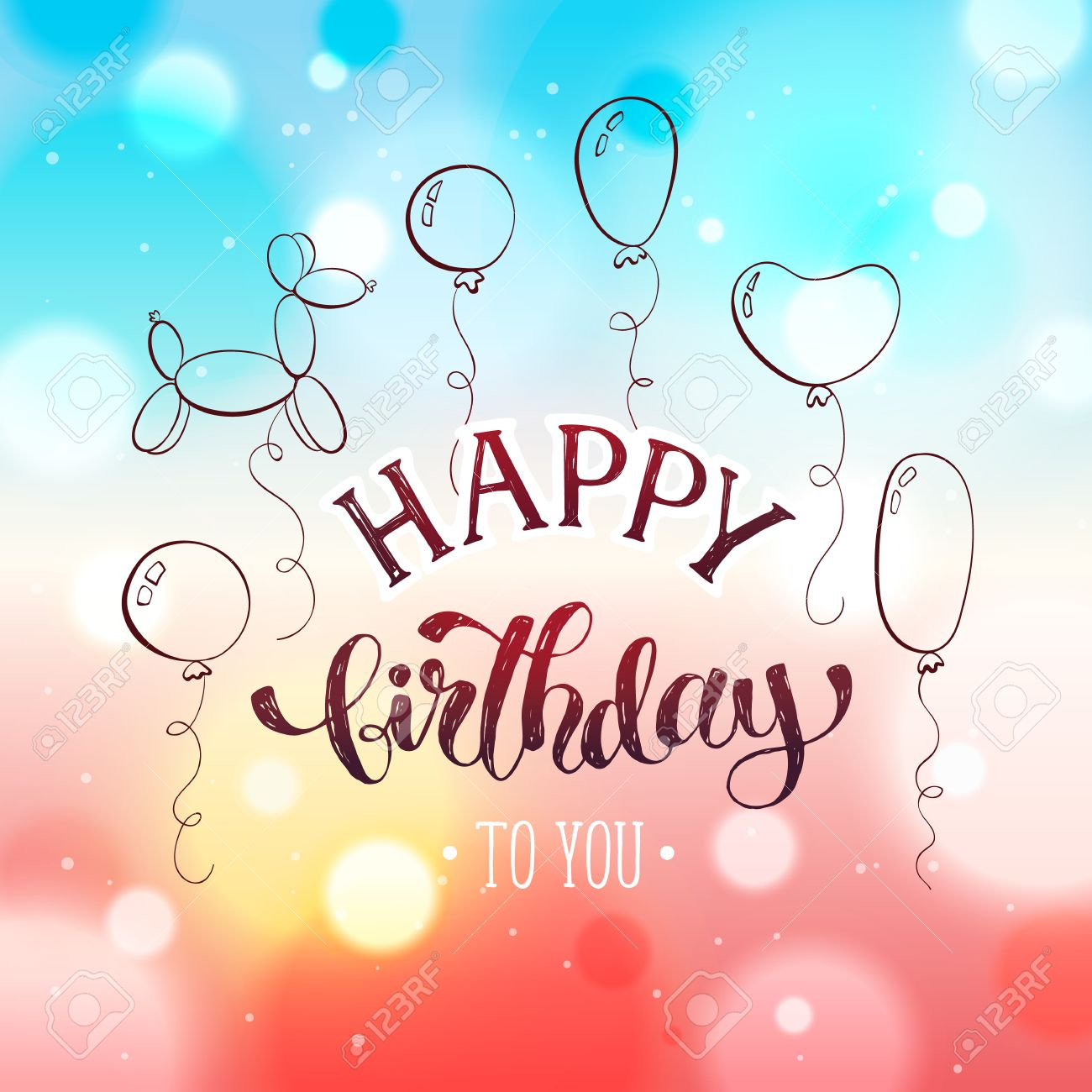 Happy Birthday Greeting Card Hand Drawn Calligraphy On Blurred