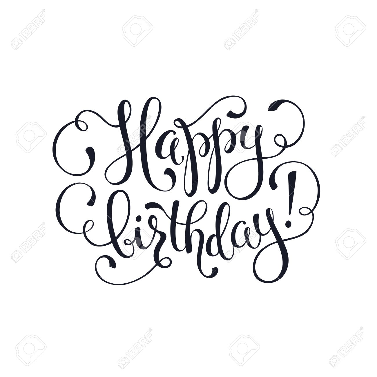 Happy Birthday Greeting Card Template Hand Drawn Calligraphy Isolated On White Background Lettering