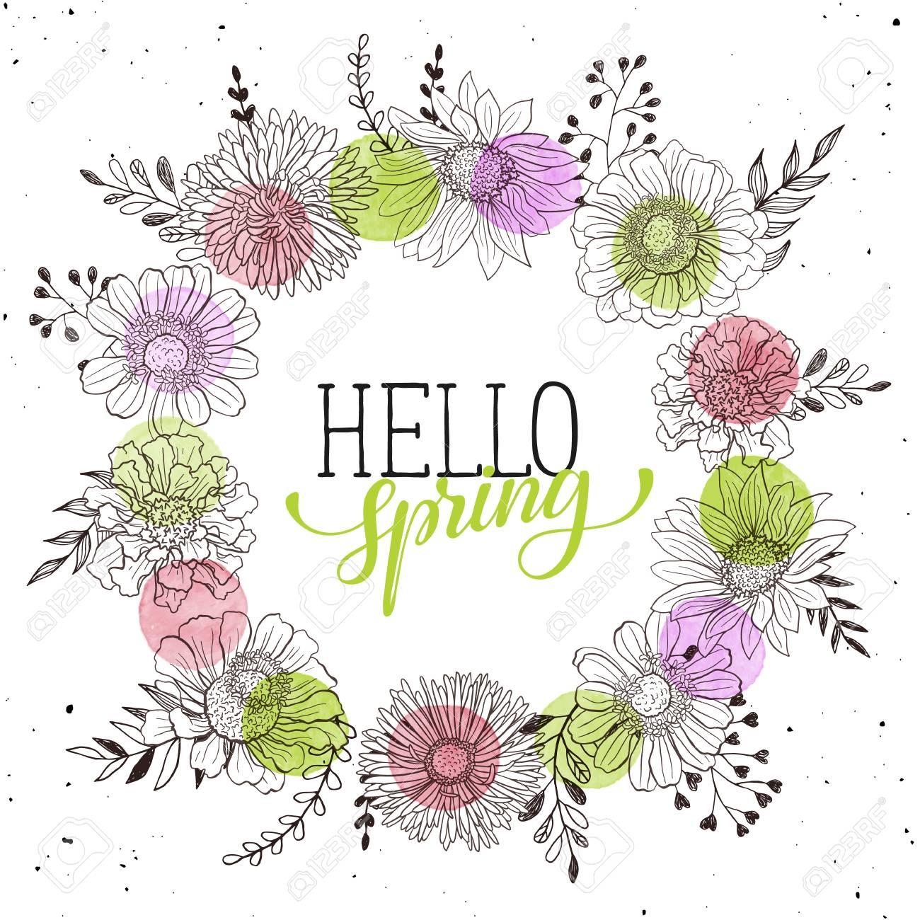 Ofrenda Floral Con La Primavera Está Llegando Texto Plantilla Romántica Para Tarjetas De Felicitación Y La Invitación Redacción Primavera Con Flores