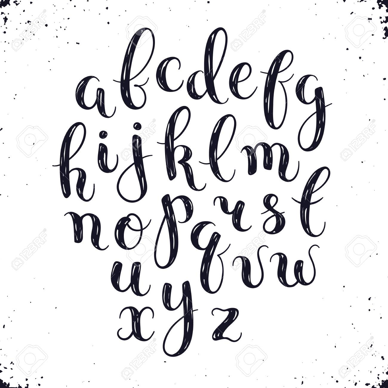 handmade letters handwritten alphabet with watercolor spots on background hand drawn calligraphy modern