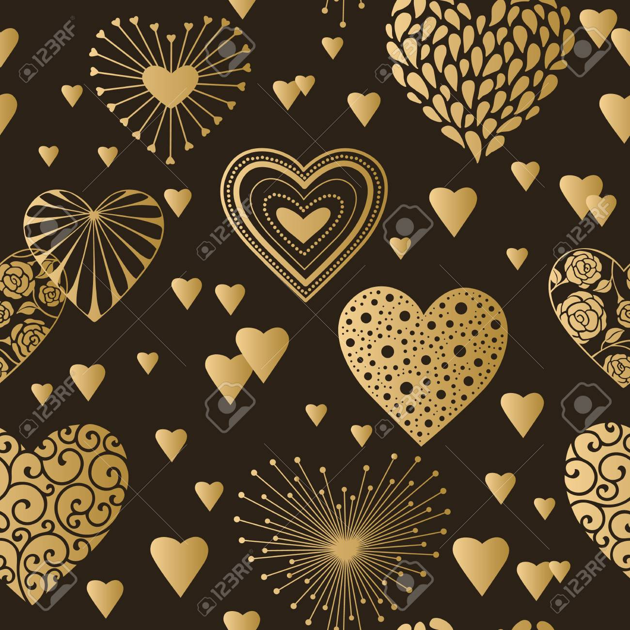 Wallpaper Design Cute Hearts Seamless Background Valentines Day Ornament Golden On Black Romantic Tiled Pattern For