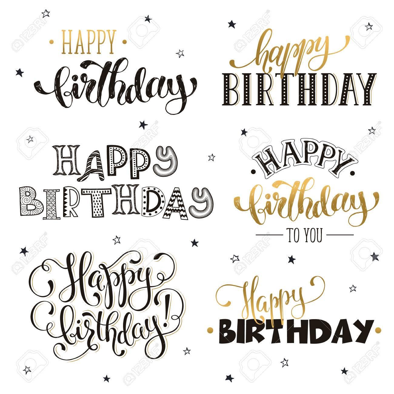 Mano Escrita Frases De Feliz Cumpleaños En Oro Plantillas De Texto De Tarjeta De Felicitación Aisladas Sobre Fondo Blanco Rotulación Del Feliz