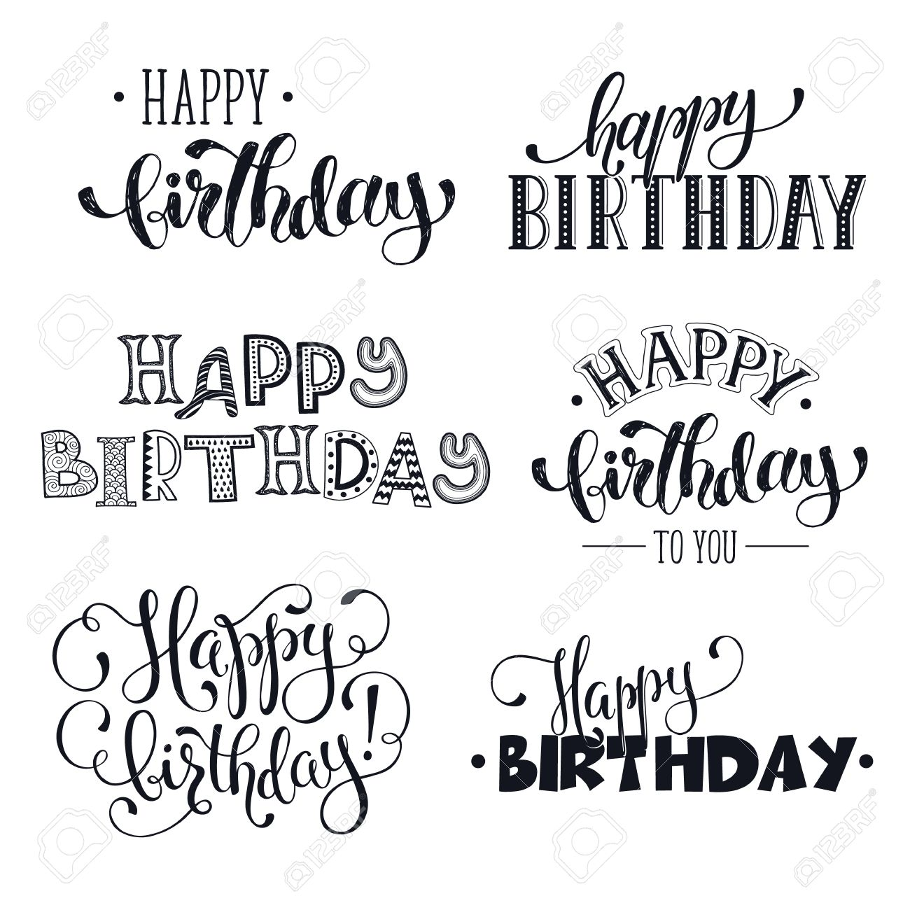 Hand Written Happy Birthday Phrases Greeting Card Text Templates Isolated On White Background