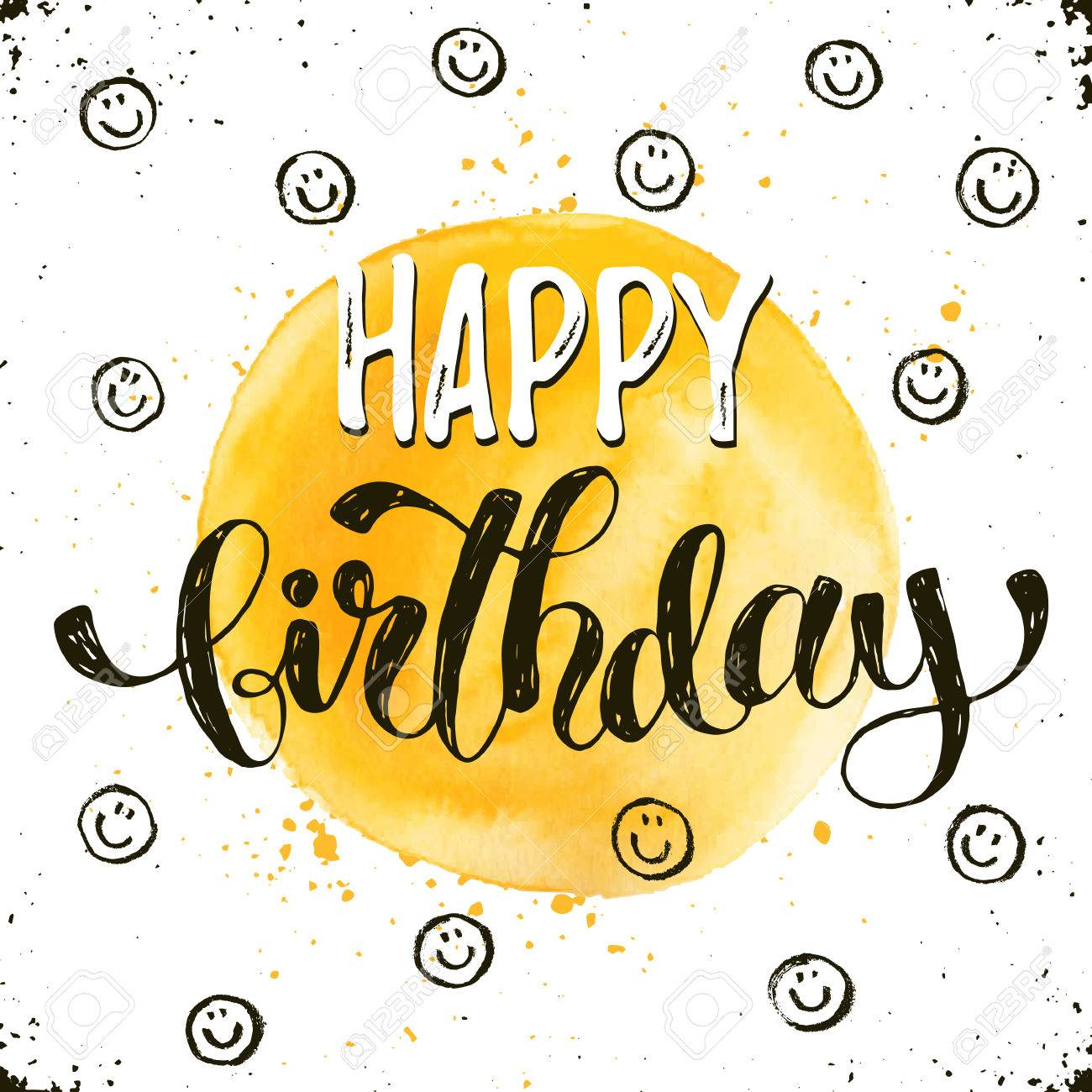 Happy birthday text hand drawn with dry brush bright and modern happy birthday text hand drawn with dry brush bright and modern ink lettering for greeting kristyandbryce Images