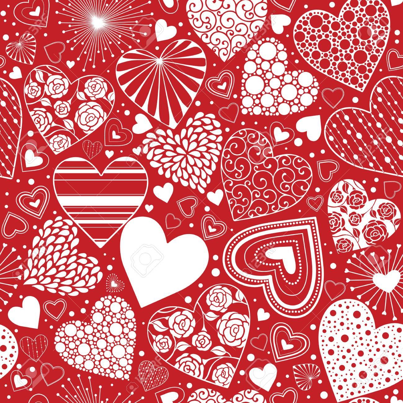 かわいいハートのシームレスな背景 バレンタインの飾り赤と白 包装紙