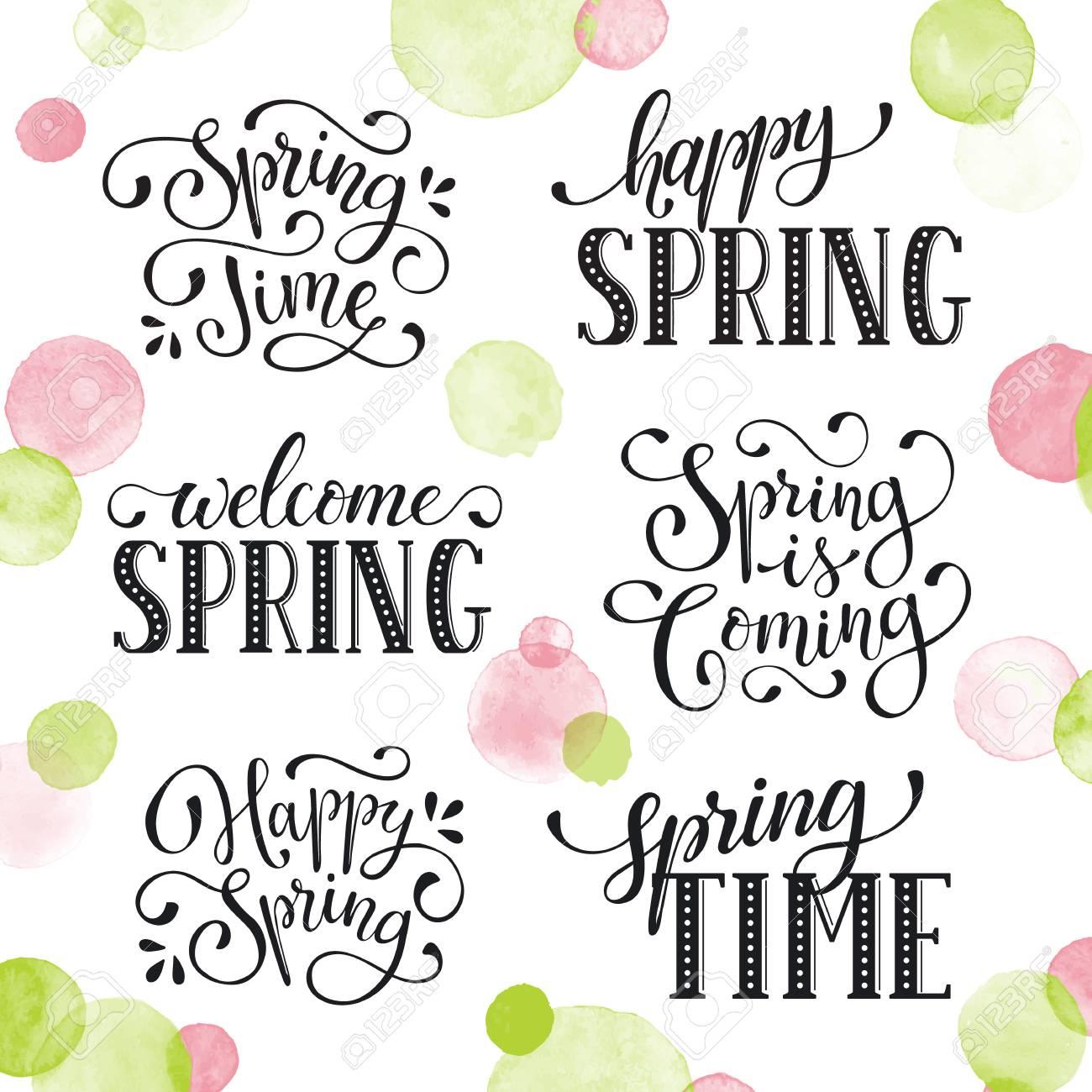 Frases Mantidas à Hora De Primavera Com Pássaros Modelos De Texto Do Cartão De Felicidade Isolados No Fundo Branco Bem Vindo Spring Lettering Em