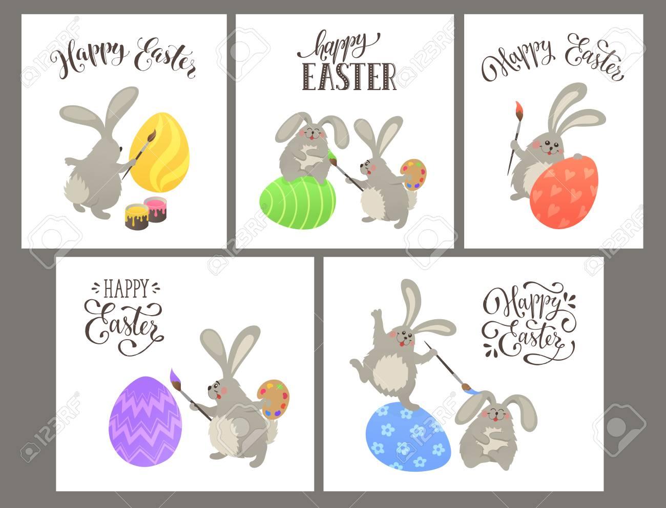 Lindo Conejito De Pascua Para Colorear Huevos. Ilustración De La ...