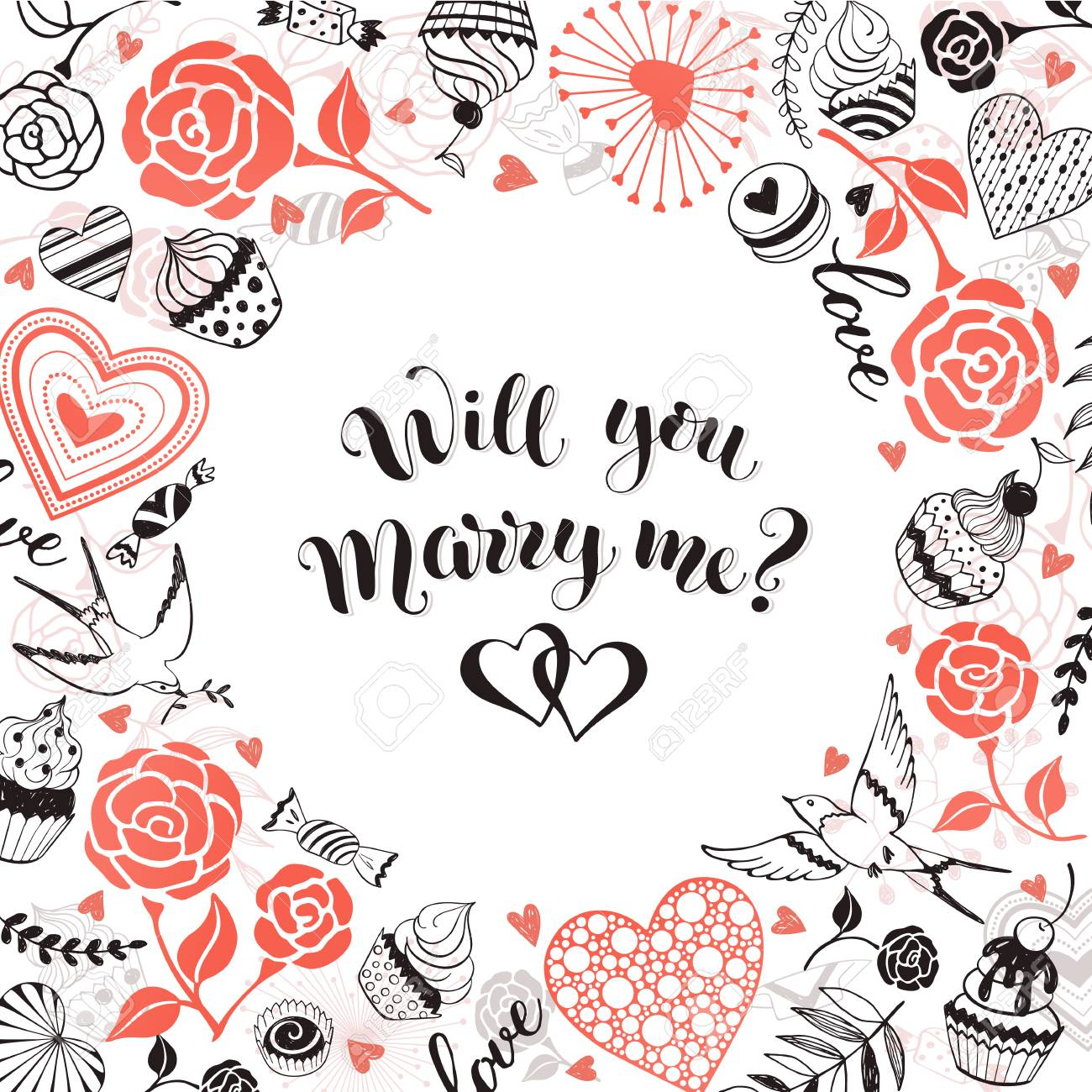 Will You Marry Me Greeting Card Romantic Circle Frame From Hearts