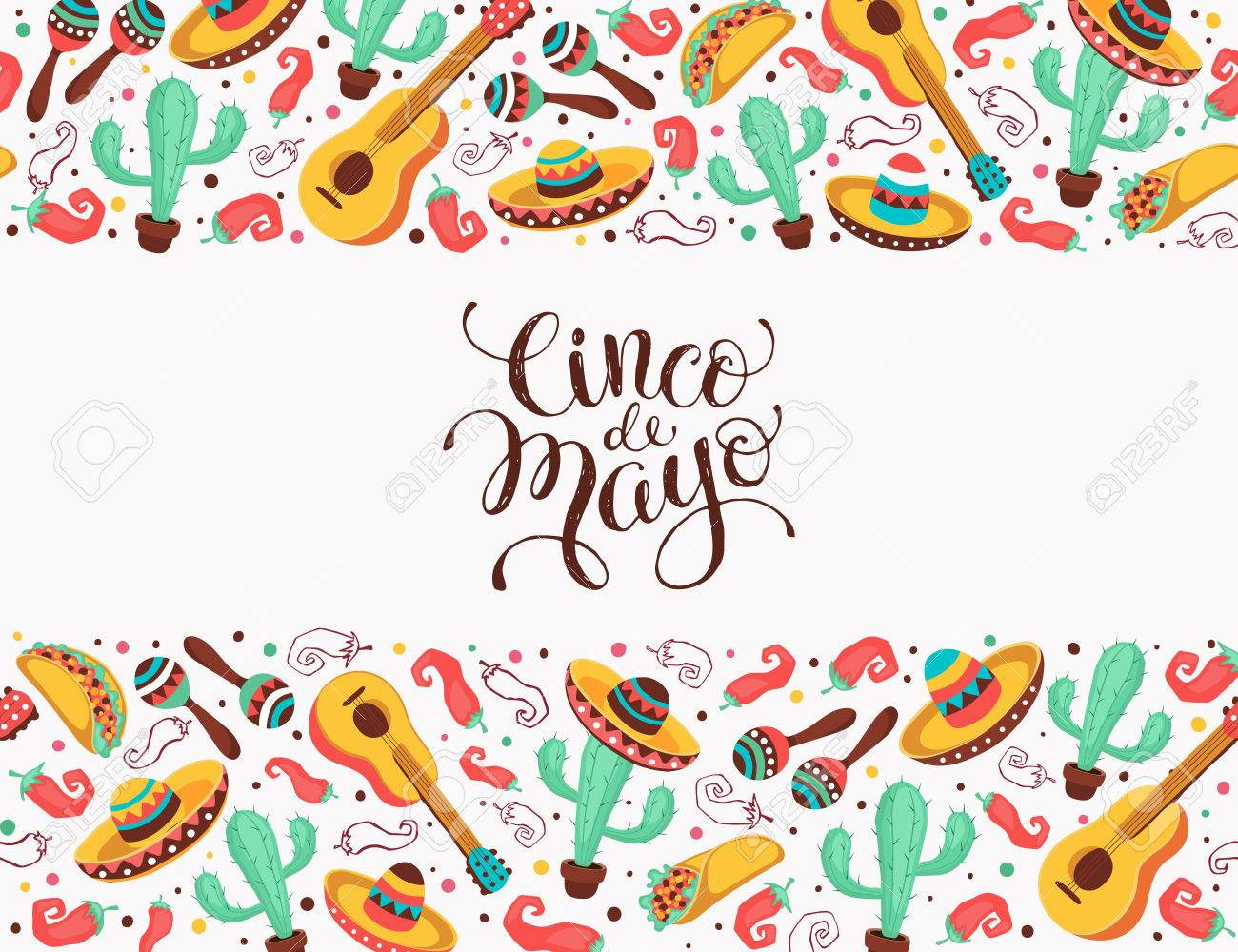 Cinco De Mayo Poster In Horizontal Stripe Composition Mexican Culture Symbols Collection Guitar