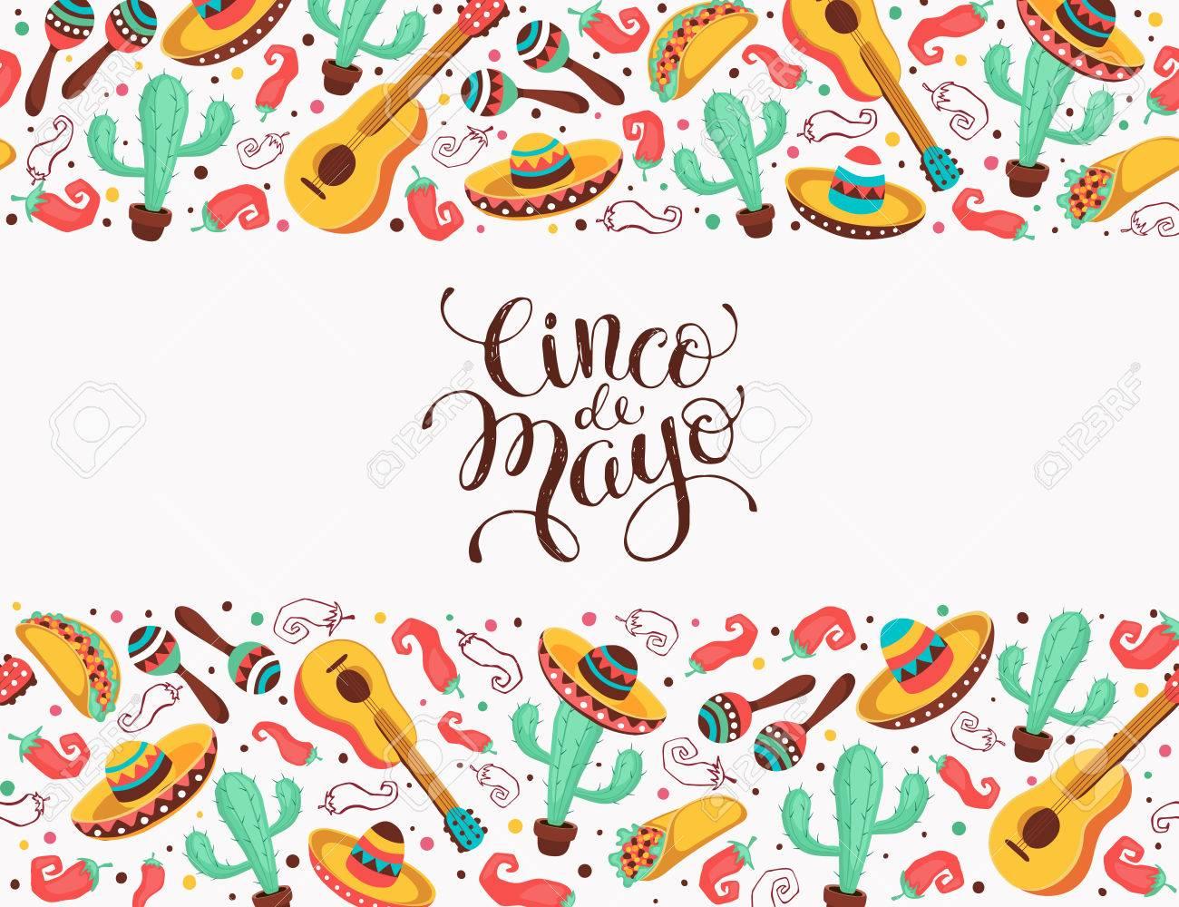 Cinco De Mayo Poster In Horizontal Stripe Composition Mexican Culture Symbols Collection Guitar