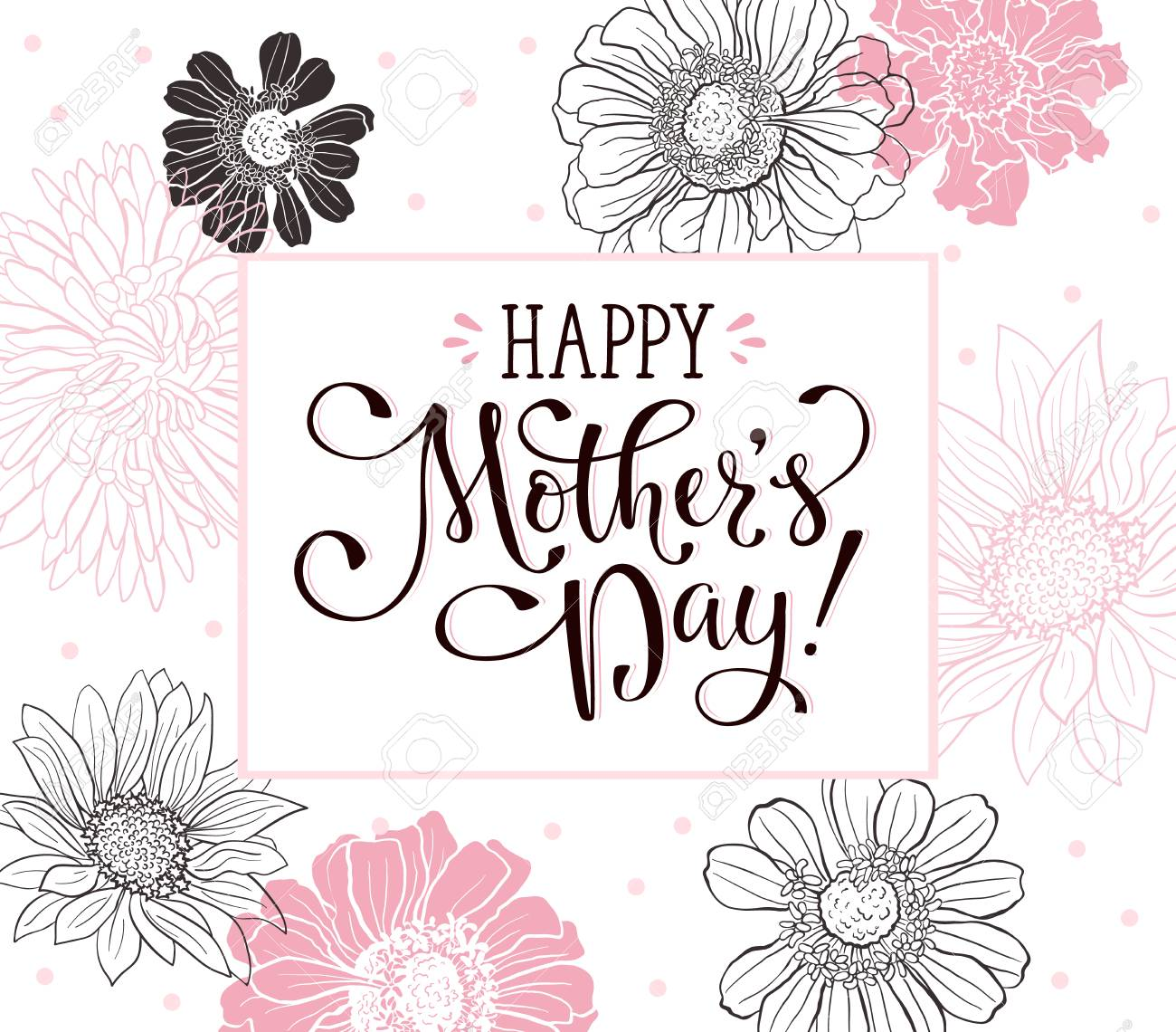 Mother day greeting card happy mothers day wording with flowers mother day greeting card happy mothers day wording with flowers outlines on white background kristyandbryce Choice Image