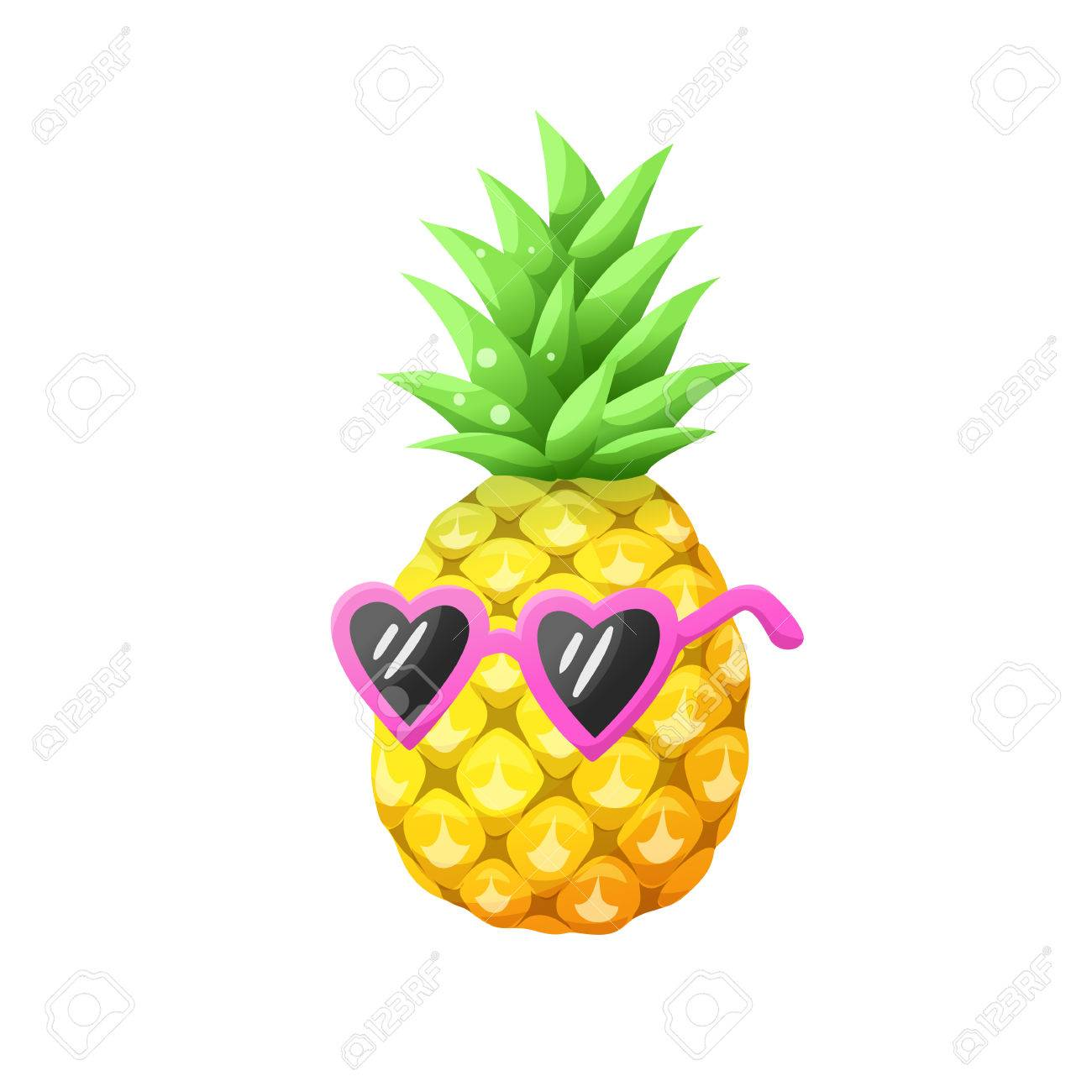 Icône Dananas Dessin Animée Brillante Ananas Coloré Dans Des Lunettes De Soleil Isolées Sur Fond Blanc Illustration Vectorielle